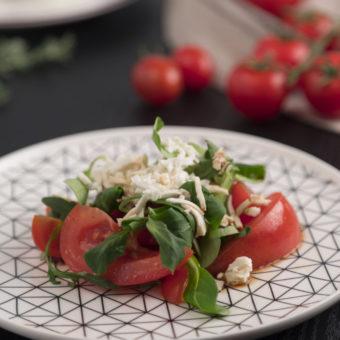 Tomatoes Salad with Fresh Caciotta Cheese